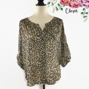 LOFT Leopard Print 3/4 Sleeve Blouse SP